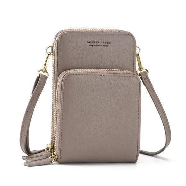 Obangbag Gray Multi-Pocket Multi Layer Mini Crossbody Phone Bag