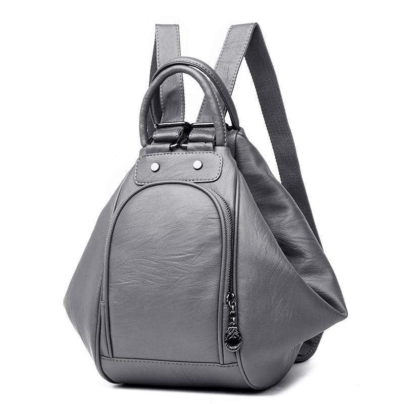 Obangbag Gray Multifunction Women Leather Backpack Large Capacity Deformable Stylish Shoulder Bag