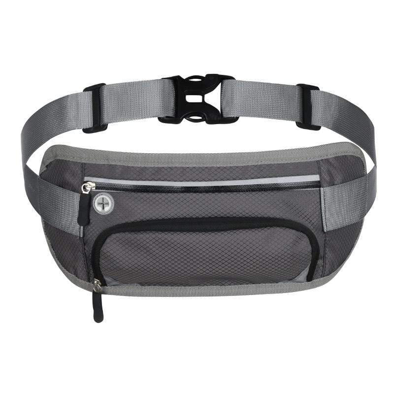 Obangbag Gray Unisex Large Capacity Earphone Access Outdoor Waterproof Fanny Pack Waist Bag for Sport