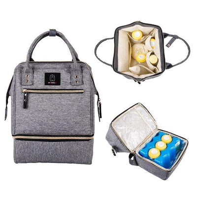 Obangbag Gray Unisex Outdoor Backpack With Lunch Box Compartment Pockets