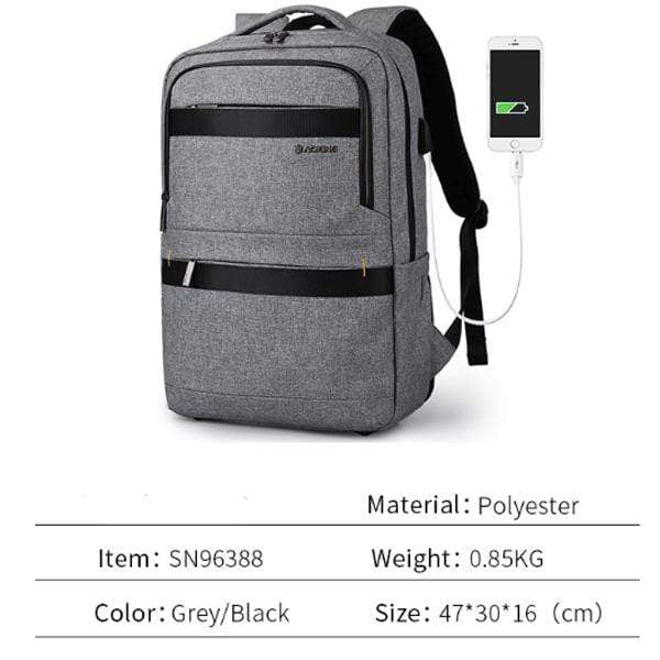 Obangbag Gray Waterproof Multi Pockets Lunch Box Bottom Compartment Usb Charging Backpack