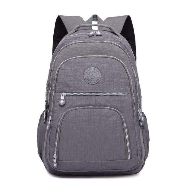 Obangbag Gray Waterproof Travel Backpack Multi Pocket Washed School Bag