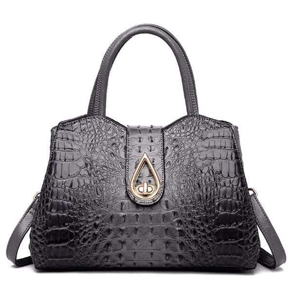 Obangbag Gray Woman crocodile pattern women shoulder bag soft leather cross-body bag handbag