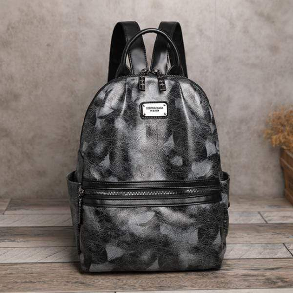Obangbag Gray Woman Retro Vintage Camouflage Leaf Pattern Oil Wax Leather Large Capacity Backpack for School for Work