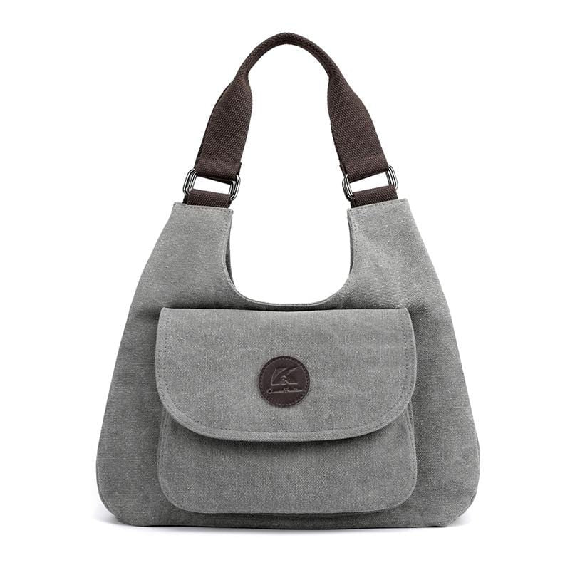Obangbag Gray Women Casual Simple Multi Pockets Large Capacity Canvas Tote Bag Handbag Sling Bag for Work