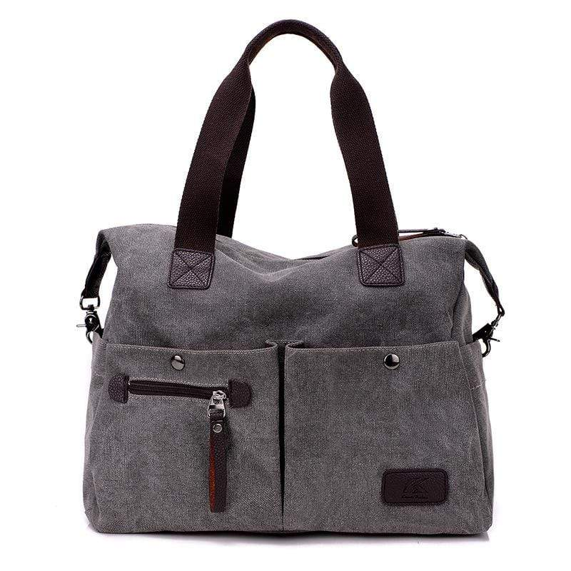 Obangbag Gray Women Chic Casual Large Capacity Big Multi Pockets Canvas Leather Shoulder Bag Crossbody Bag