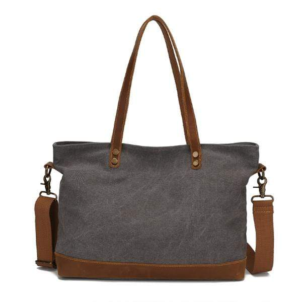 Obangbag Gray Women Chic Casual Large Capacity Leather Canvas Tote Bag Crossbody Bag for Work