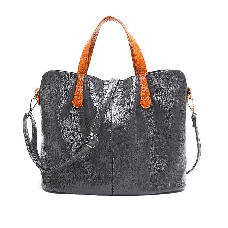 Obangbag Gray Women Chic Vintage Large Capacity Multifunction Casual Soft Leather Tote Bag Handbag