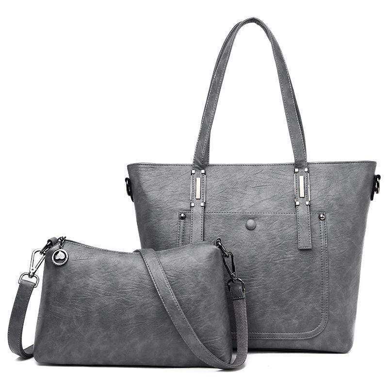 Obangbag Gray Women Chic Vintage Large Capacity Multifunction Soft Leather Bag Set Crossbody Bag for Work for Travel