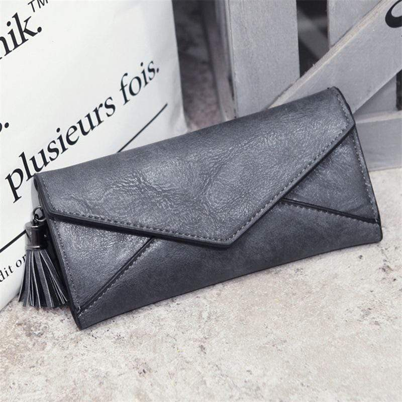Obangbag Gray Women Elegant Vintage Fringed Foldable Lightweight Leather Long Wallet Purse Clutch