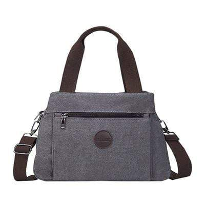 Obangbag Gray Women Fashion Canvas Multi Pocket Handbag Shoulder Bag Crossbody Bag