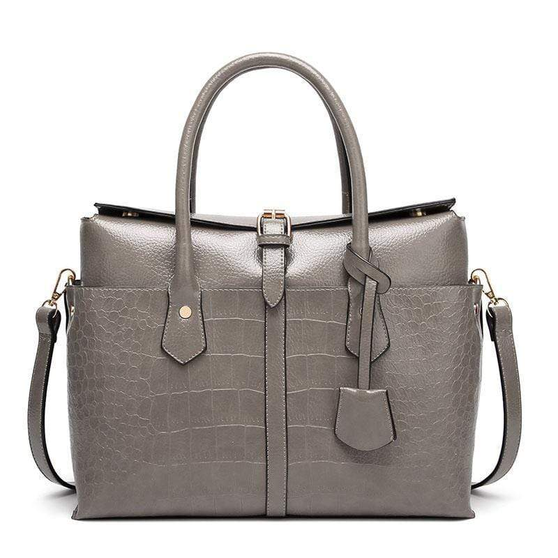 Obangbag Gray Women Large Capacity Elegant Crocodile Skin Pattern PU Leather Handbag
