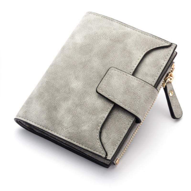 Obangbag Gray Women Leather Wallets Cards Holders Coin Pocket Purse