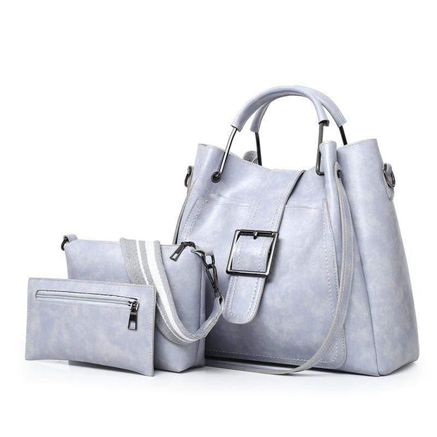 Obangbag Gray Women Luxury 3 Pieces Bag Set Retro Oil Wax Leather Purse Handbag
