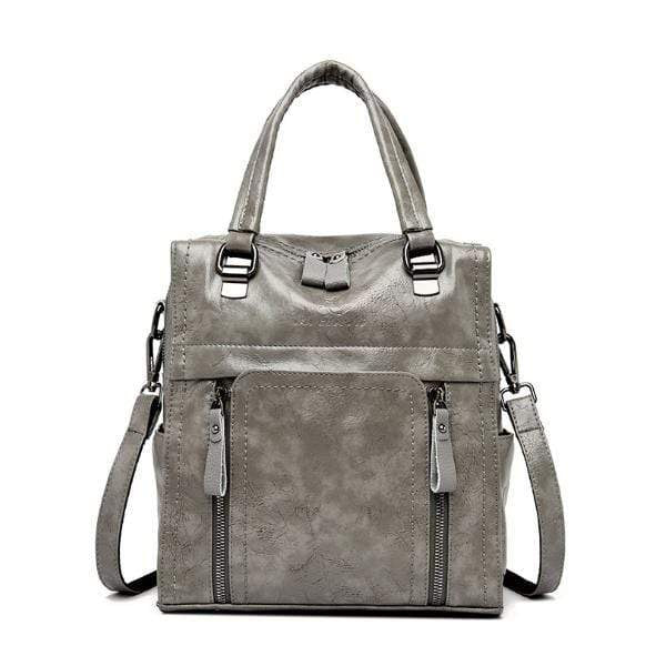 Obangbag Gray Women retro large capacity multi-pocket multi-function backpack messenger shoulder bag
