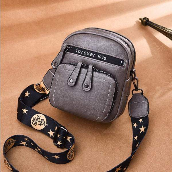 Obangbag Gray Women Retro Mini Cute Stylish PU Leather Crossbody Bag Shoulder Bag