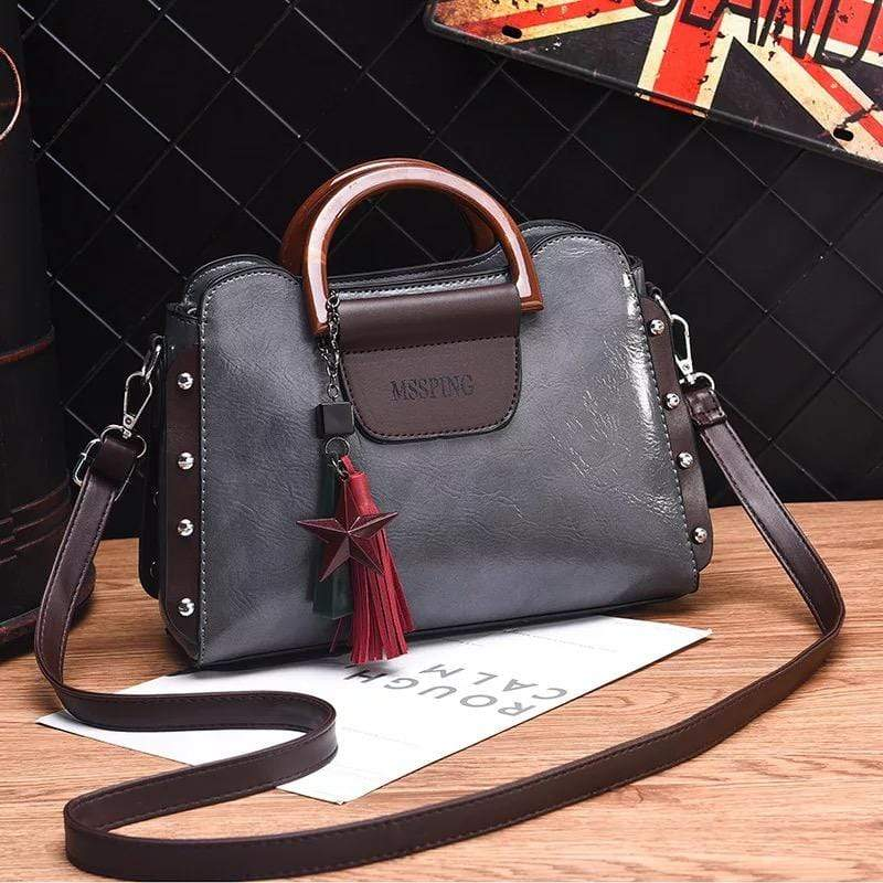 Obangbag Gray Women Retro Stylish Tassel Leather Handbag Crossbody Bag