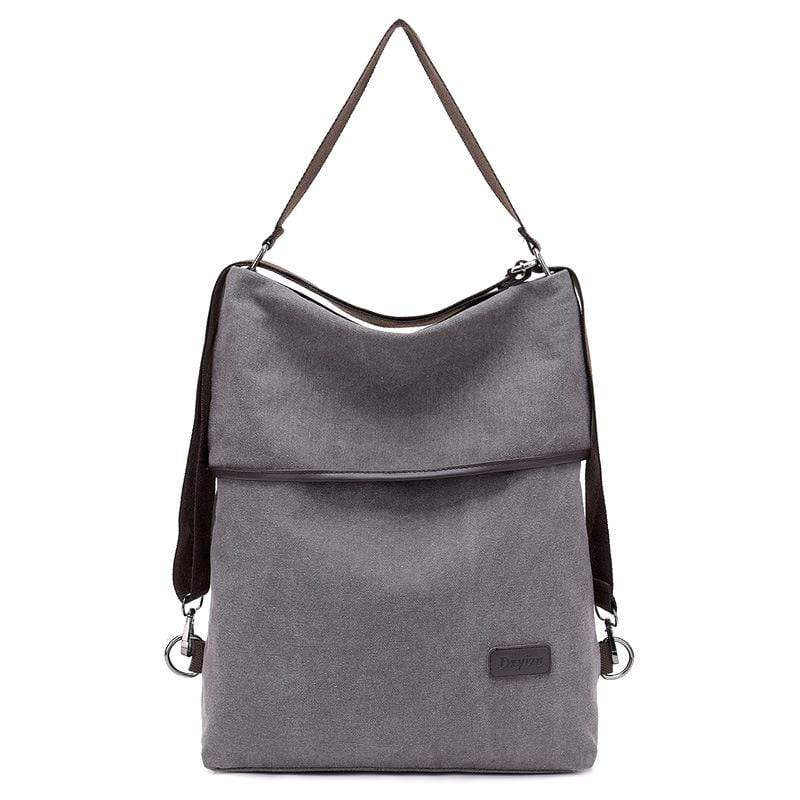 Obangbag Gray Women Simple Casual Multifunction Large capacity Lightweight Canvas Backpack Shoulder Bag Crossbody Bag for Work for School
