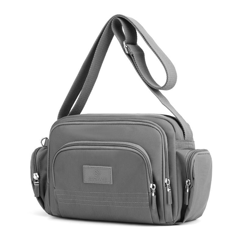 Obangbag Gray Women Simple Multi Pockets Multifunction Lightweight Waterproof Nylon Shoulder Bag Crossbody Bag