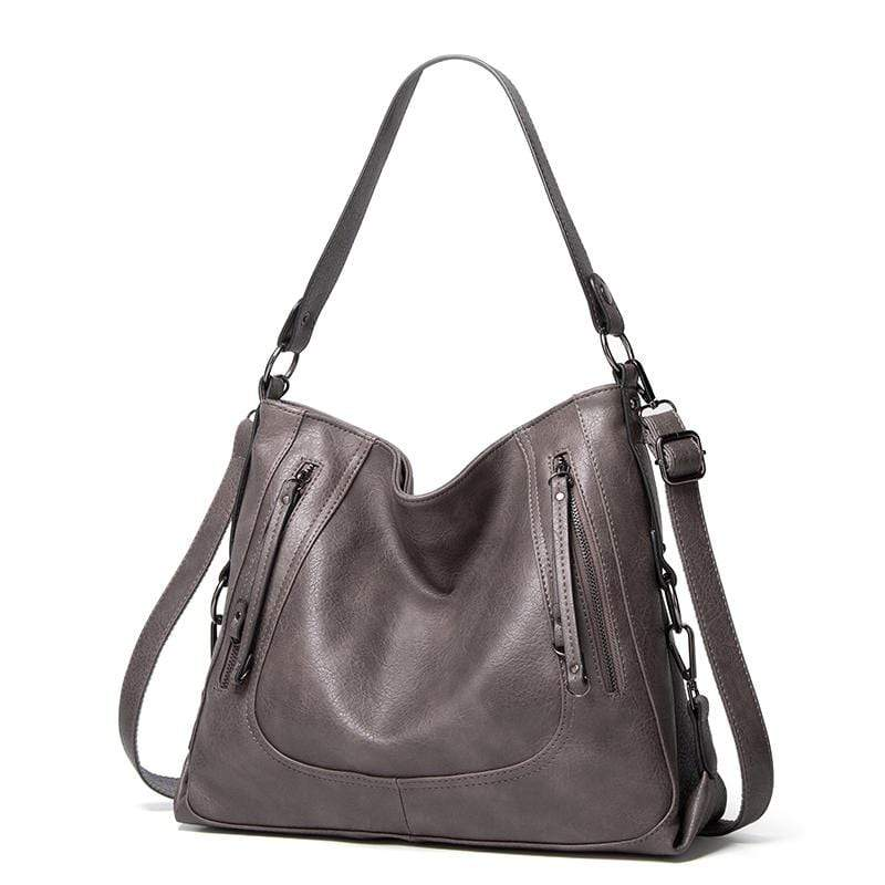 Obangbag Gray Women Vintage Big Large Capacity Multifunction Professional Leather Tote Bag Crossbody Bag for Work