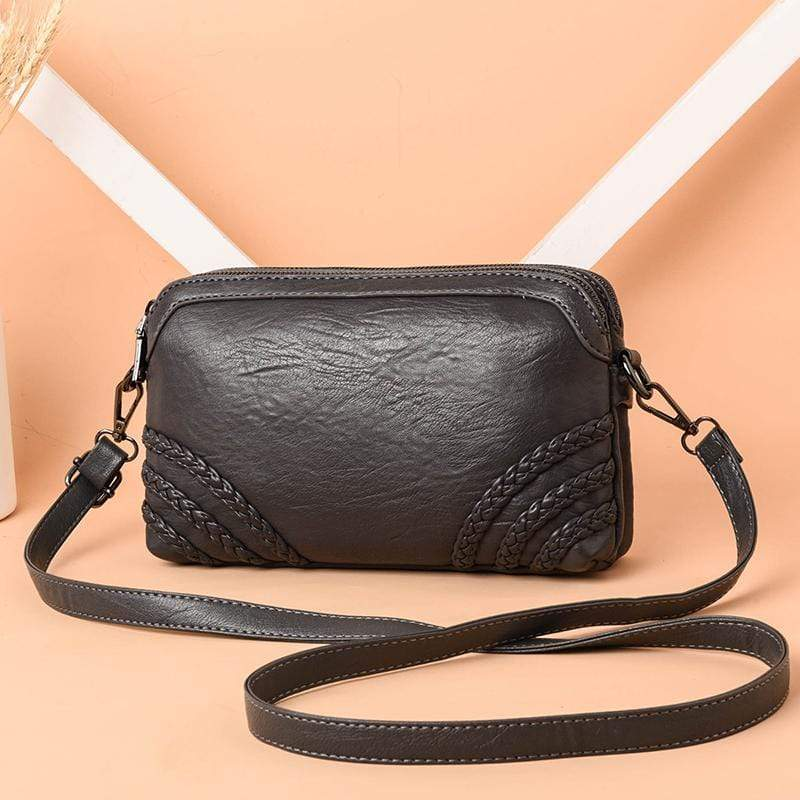 Obangbag Gray Women Vintage Cute Mini Roomy Professional Soft Leather Crossbody Bag Shoulder Bag