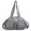 Obangbag Gray Women Vintage Fashion Professional Multi Pockets Roomy Soft Leather Shoulder Bag Crossbody Bag
