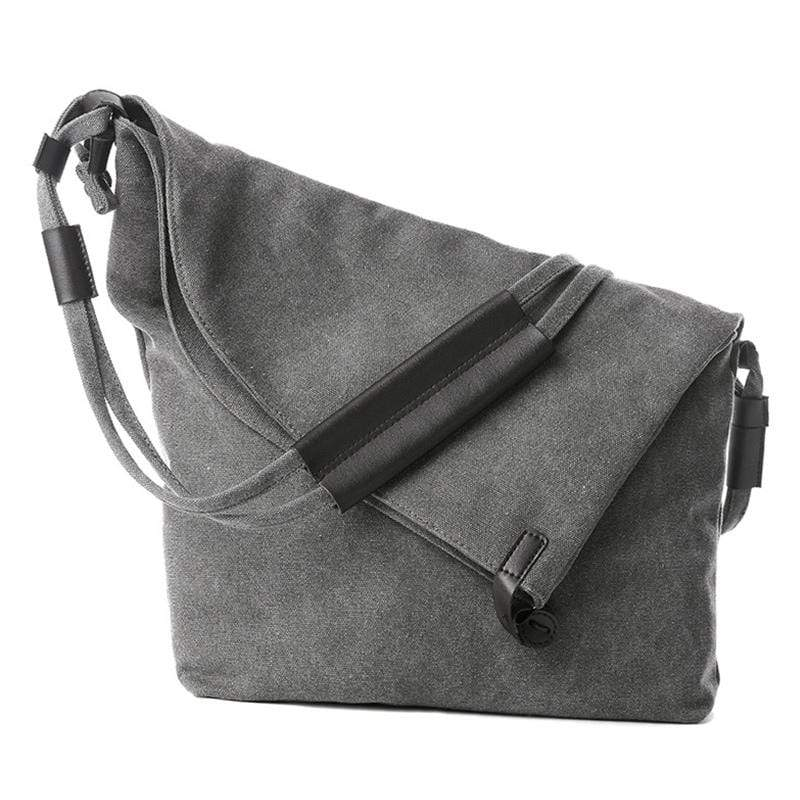 Obangbag Gray Women Vintage Fashion Simple Large Capacity Multifunction Canvas Shoulder Bag Crossbody Bag for School