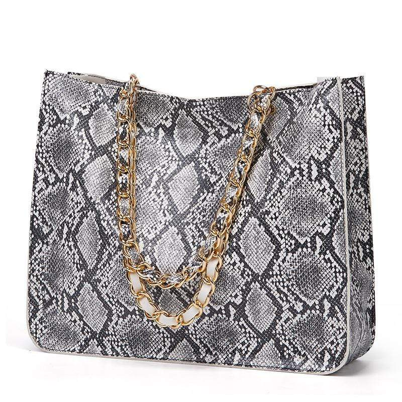 Obangbag Gray Women Vintage Large Capacity Lightweight Multifunction Snake Skin Pattern Leather Handbag Shoulder Bag Chain Bag