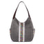 Obangbag Gray Women Vintage Multi Pockets Multi Layers Printed Roomy Canvas Tote Bag Handbag