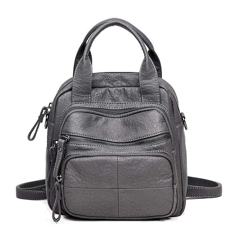 Obangbag Gray Women Vintage Simple Multifunction Roomy Lightweight Soft Leather Backpack Shoulder Bag Handbag