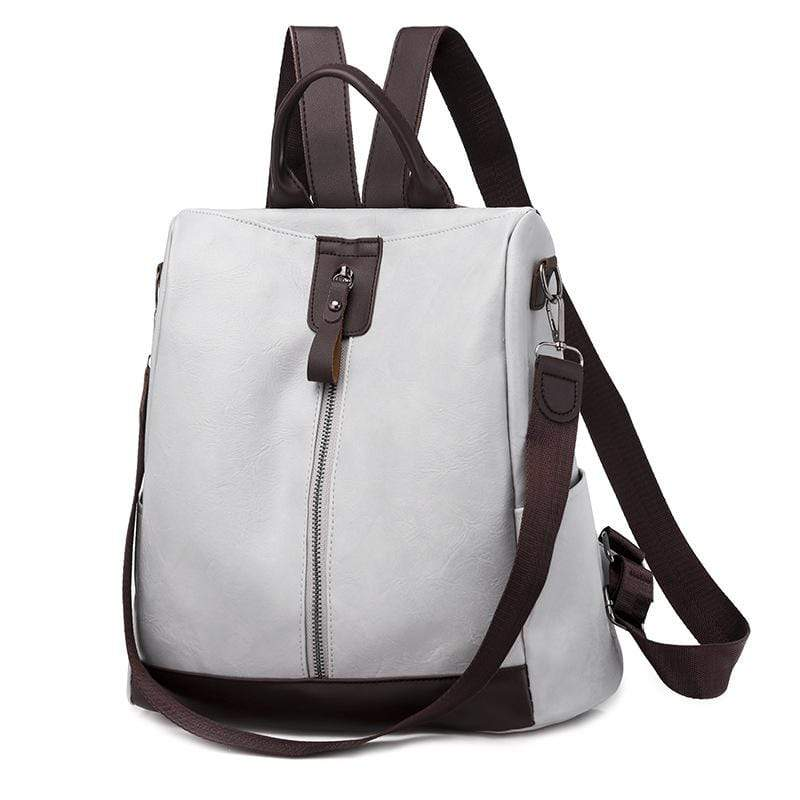 Obangbag Gray Women Vintage Stylish Earphone Access Roomy Multifunction Soft Leather Backpack Shoulder Bag
