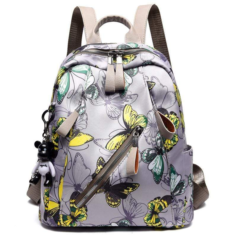 Obangbag Gray+Yellow Women Chic Printed Multi Pockets Large Capacity Daily Oxford Backpack for Travel