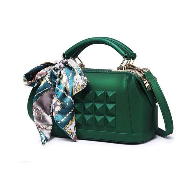 Obangbag Green 2020 Women's spring and summer fashion frosted one shoulder slant cross jelly bag