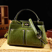 Obangbag green Big Capacity Fashion Teacher Tote Bags Soft Leather Shoulder Bags