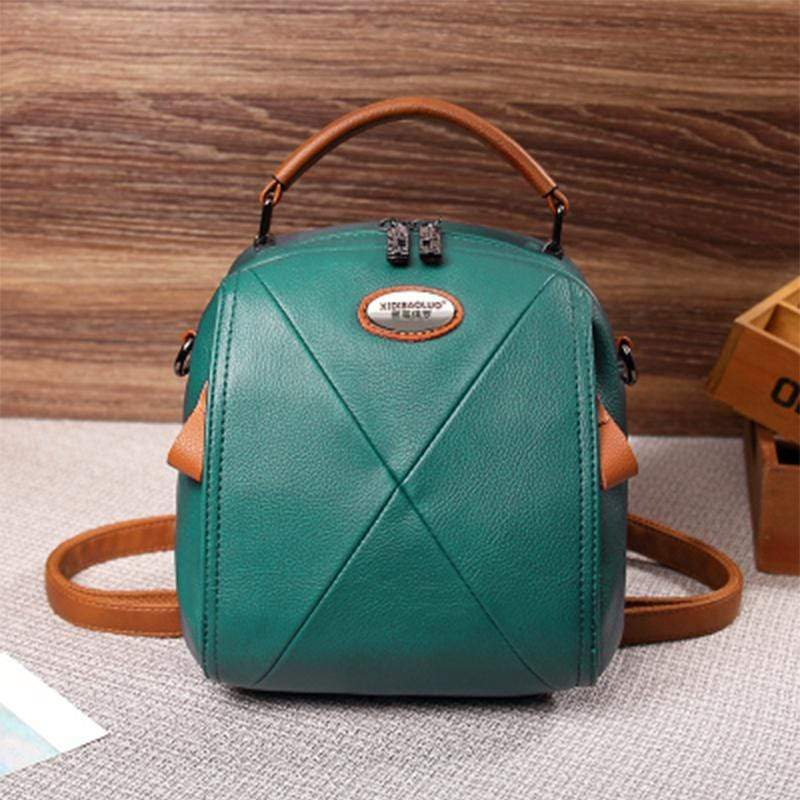 Obangbag Green Colorful Stylish Pockets Small Leather Professional Backpack Crossbody Bag
