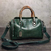 obangbag Green Ladies Retro Large Capacity Leather Tote Bag Work Shoulder Bag