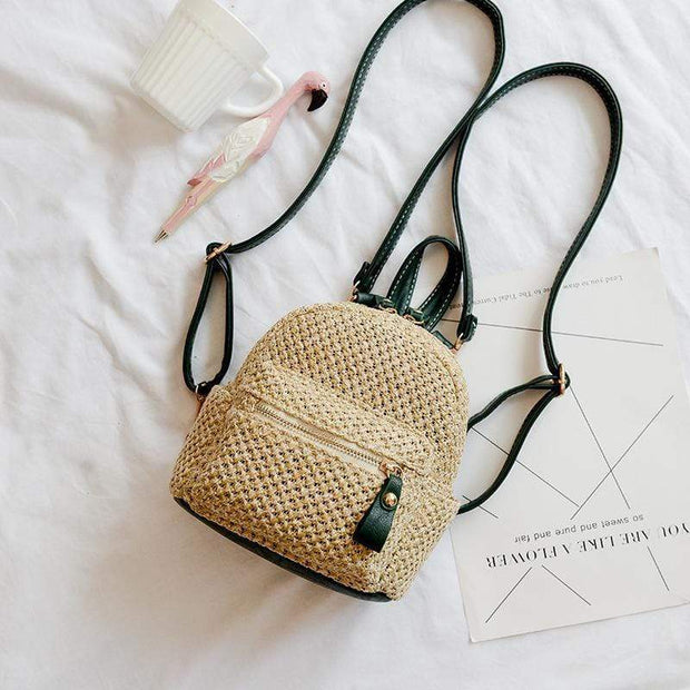Obangbag Green Ladies Summer Multi Function Chic Straw Rattan Woven Mini Small Cute Backpack