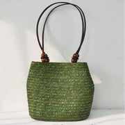 Obangbag Green Ladies Summer Straw Rattan Beach Tote Bags Shoulder Bags