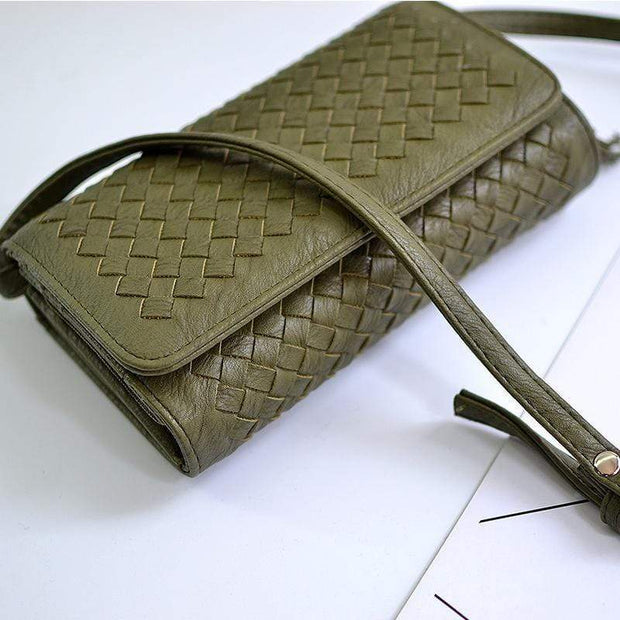 Obangbag Green Leather Woven Wallet Multi Slot Card Holder Chic Women Shoulder Bag
