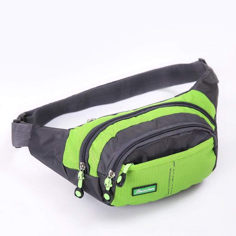 Obangbag Green Men Large Capacity Multi Pockets Sports Multifunction Outdoors Nylon Waterproof Fanny Pack