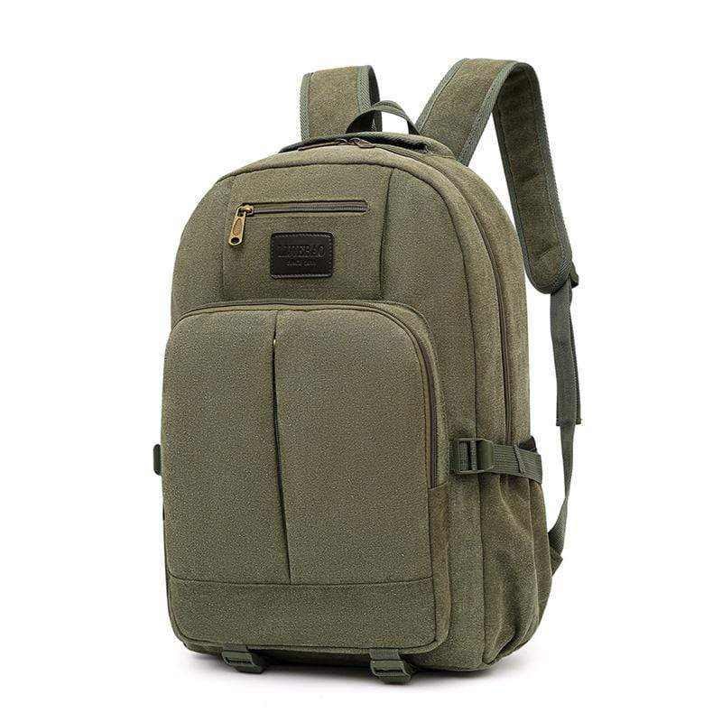 Obangbag Green Men Outdoor Large Capacity Multi Pockets Multifunction Travel Canvas Backpack Bookbag for School