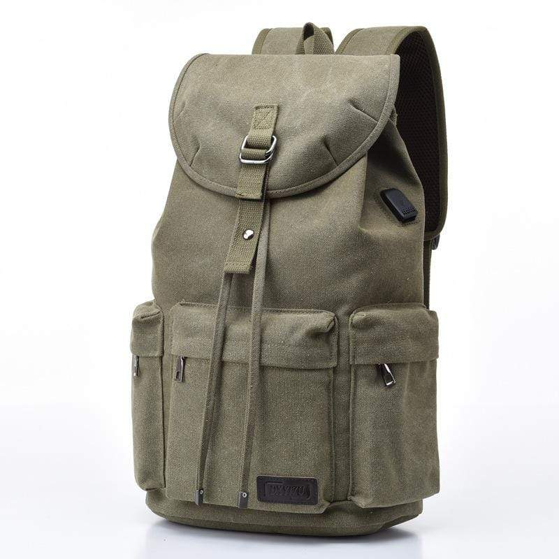 Obangbag Green Men Simple Big Large Capacity Multi Pockrts Outdoor Daily Canvas Backpack Bookbag