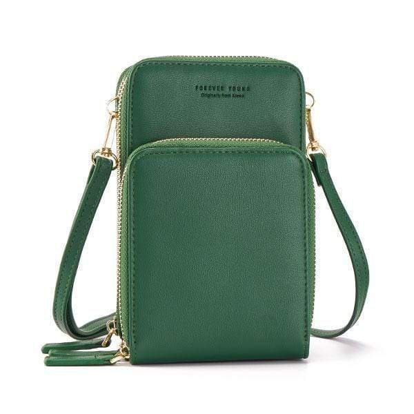 Obangbag Green Multi-Pocket Multi Layer Mini Crossbody Phone Bag