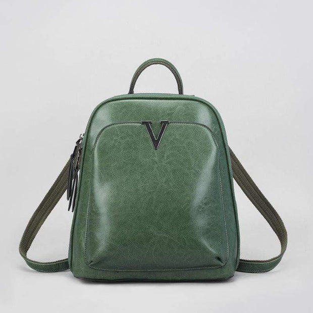Obangbag Green Multifunctional Large Capacity Shoulder Bag Genuine Leather Backpack