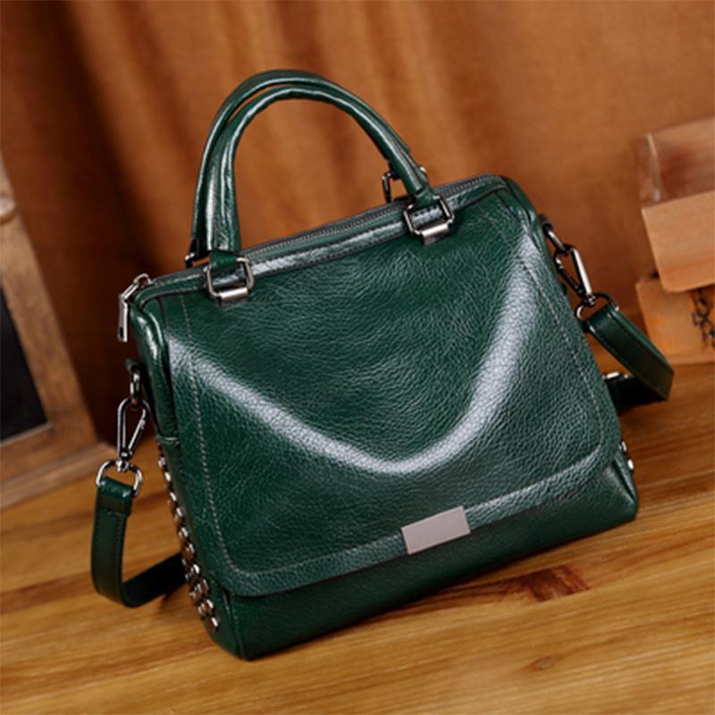 Obangbag Green Retro Vintage Anti theft Leather Messenger Handbag Shoulder Bag