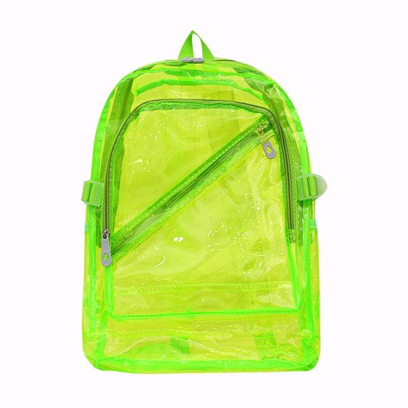 Obangbag Green Unisex Chic Stylish Clear Transparent Large Capacity Lightweight PVC Backpack