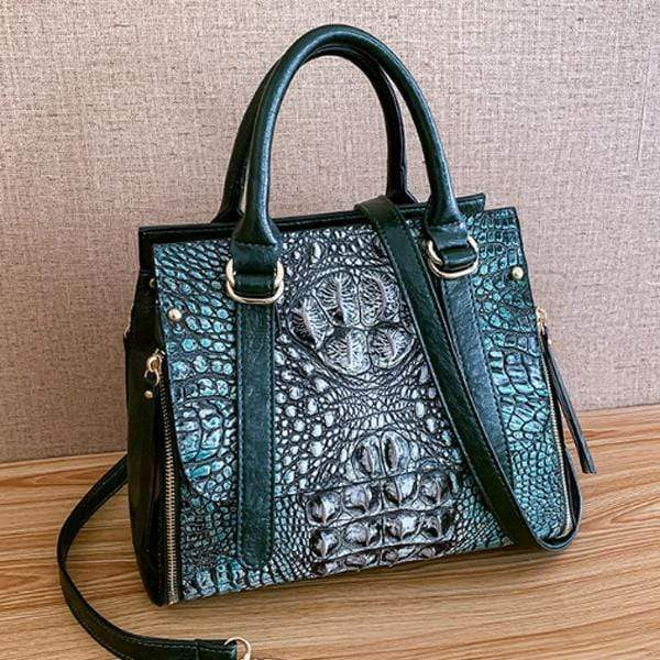Obangbag GREEN Woman Crocodile Leather Large Capacity Shoulder Messenger Bag