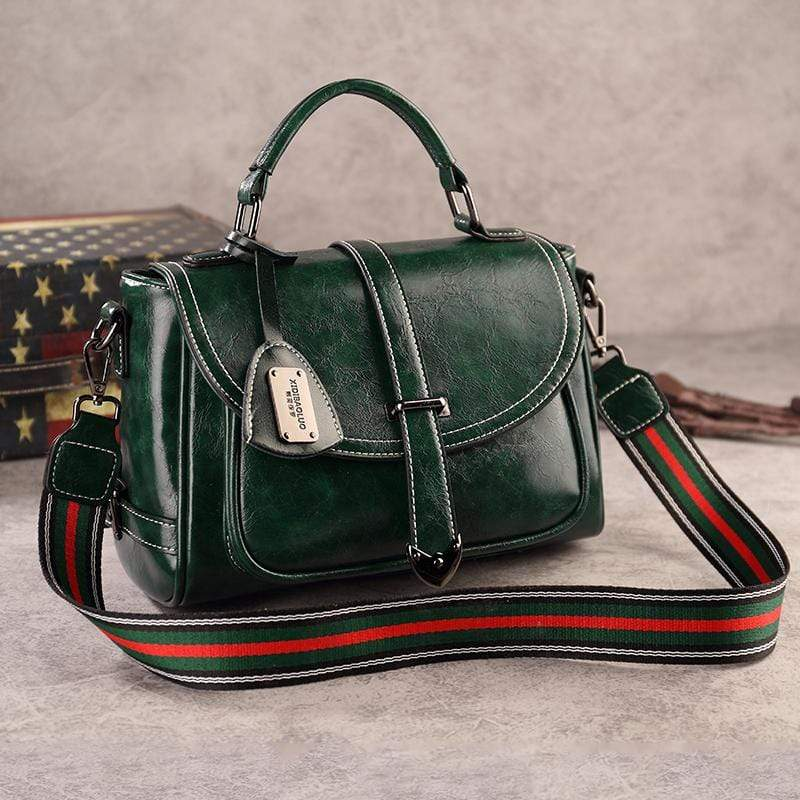 Obangbag Green Woman Vintage Leather Multi Pocket Handbag