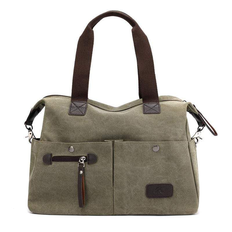 Obangbag Green Women Chic Casual Large Capacity Big Multi Pockets Canvas Leather Shoulder Bag Crossbody Bag