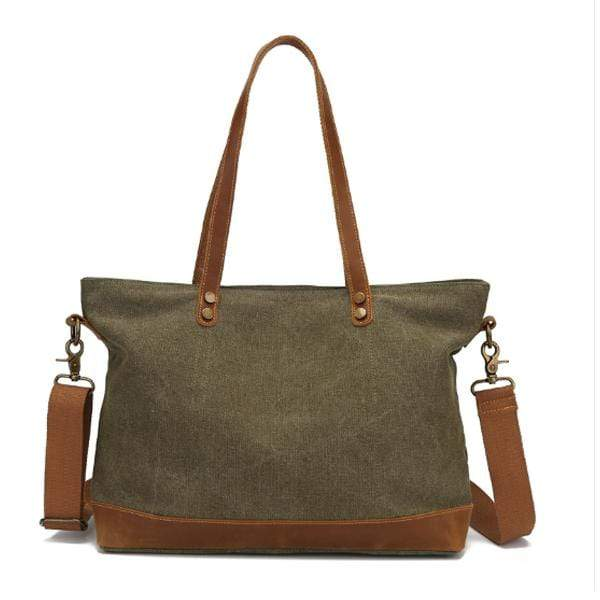 Obangbag Green Women Chic Casual Large Capacity Leather Canvas Tote Bag Crossbody Bag for Work